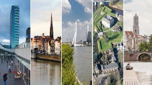 Άποψη των πέντε υποψήφιων πόλεων για τη διοργάνωση της Eurovision 2020 (Άρνεμ, Μάαστριχτ, Ρότερνταμ, Χερτόγκενμπος και Ουτρέχτη)
