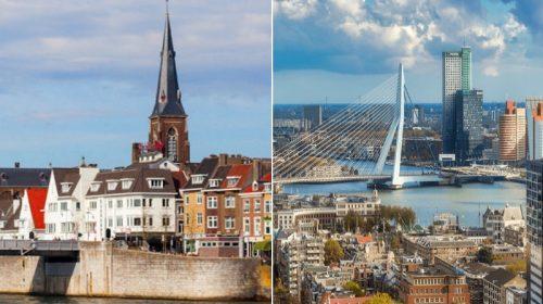 Άποψη του Μάαστριχτ και του Ρότερνταμ, των δύο ολλανδικών πόλεων που διεκδικούν τη διοργάνωση της Eurovision 2020
